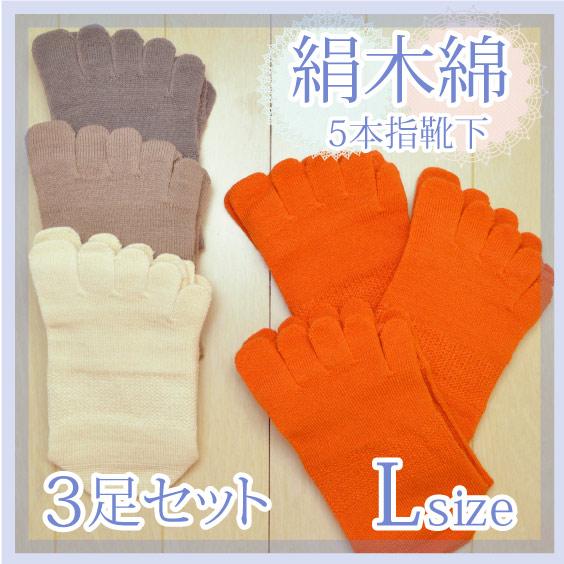 冷えとり絹木綿L3足セット